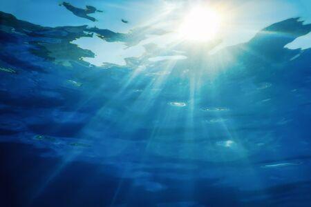Photo pour Underwater Sunlight Through Water Surface, Underwater Background - image libre de droit