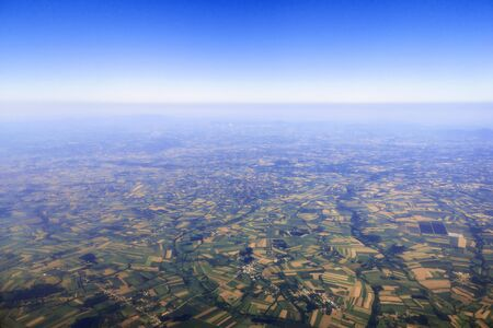 Photo pour Aerial View of green fields, forest countryside - image libre de droit