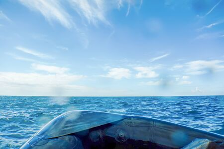 Photo for Inflatable Boat Breaking Sea Waves, Freedom and Movement - Royalty Free Image