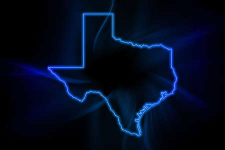 Photo pour Glowing Map of Texas, modern blue outline map, on dark Background - image libre de droit