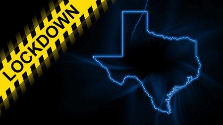 Photo pour Lockdown Texas, outline map Coronavirus, Outbreak quarantine, on dark Background - image libre de droit