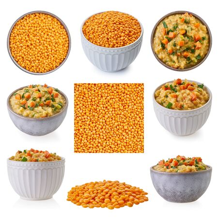 Photo for set of lentils with clipping path, white isolated background - Royalty Free Image