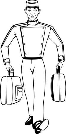Illustration pour Bellhop Illustration. - image libre de droit