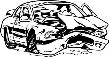 Illustration pour Wrecked Car Illustration - image libre de droit