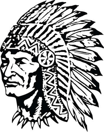 Illustration pour Indian Chief in War Bonnet Headdress Vector Illustration - image libre de droit