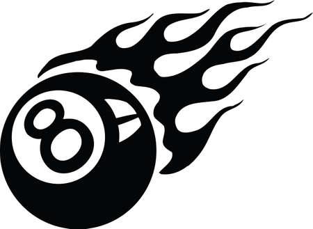 Illustration pour Flaming Eight Ball Vector Illustration - image libre de droit