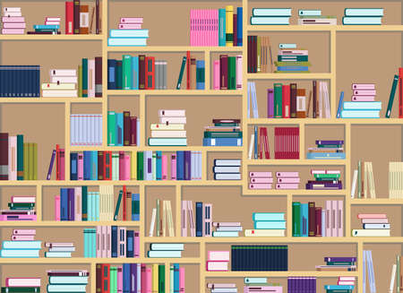 Illustration pour Vector illustration of a large bookcase filled with many colorful books. Books are arranged differently - image libre de droit