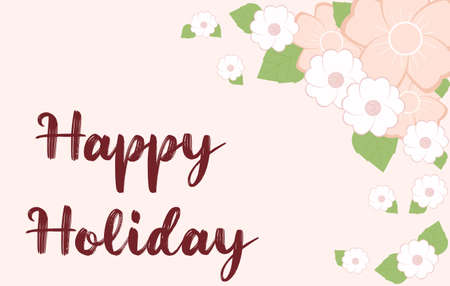 Illustration pour Vector illustration of greeting card with red text Happy Holiday. Frame of flowers of delicate pink-peach color - image libre de droit