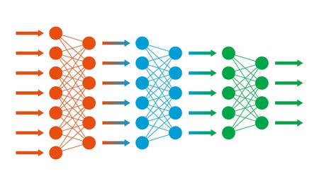 Illustration pour Neural net. Neuron network. Data engineering. Deep learning. Cognitive technology concept. Vector illustration - image libre de droit