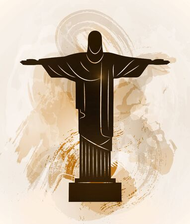 January 20, 2016. Rio de Janeiro Jesus Christ statue. World famous Brazil tourist attraction symbol. Christ the redeemer monument. Vector illustration.