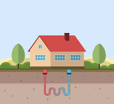 Ilustración de Geothermal green energy concept. Eco friendly house with geothermal heating and energy generation. Vector illustration. - Imagen libre de derechos