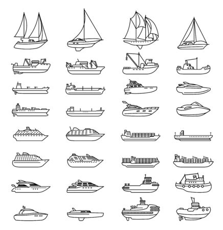 Illustration pour Ships and boats set. Barge and cargo ship, tanker, sailing vessel, cruise liner, tugboat, fishing and speed boat. - image libre de droit