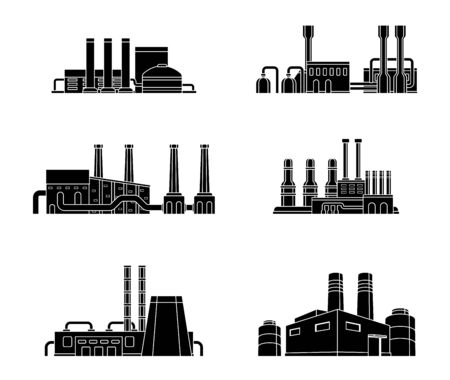 Illustration for Set of industrial manufactory buildings. Factory, plant, energy and power station. - Royalty Free Image