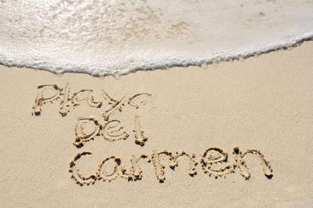 Mexico City Playa Del Carmen Written in Sand on Beach