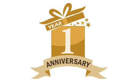 Illustration pour 1 Years Gift Box Ribbon Anniversary - image libre de droit