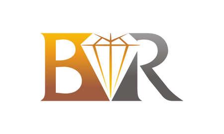 Letter BR Diamond logo Vector illustration.