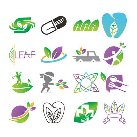 Illustration for Leaf Logo Design Vector Template Set - Royalty Free Image