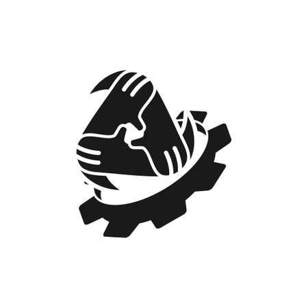 Illustration pour Commitment Teamwork Together Black Logo - image libre de droit