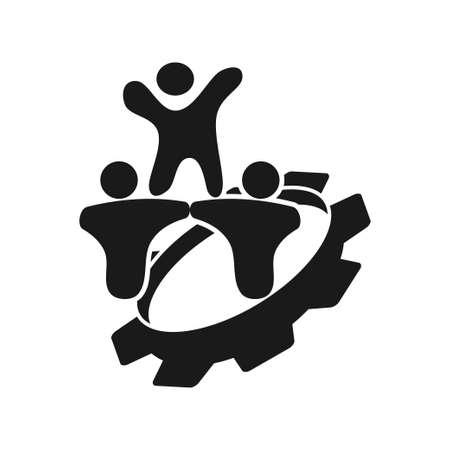Illustration pour gear people Commitment Teamwork Together Black Logo - image libre de droit