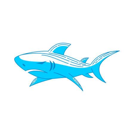 Illustration pour Shark Strength logo design vector Outline isolated illustration - image libre de droit