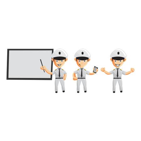 Airplane Pilot Cartoon Character Set Aircraft Captain in Uniform