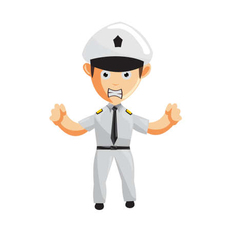 Airplane Pilot Angry Cartoon Character  Aircraft Captain in Uniform Isolated