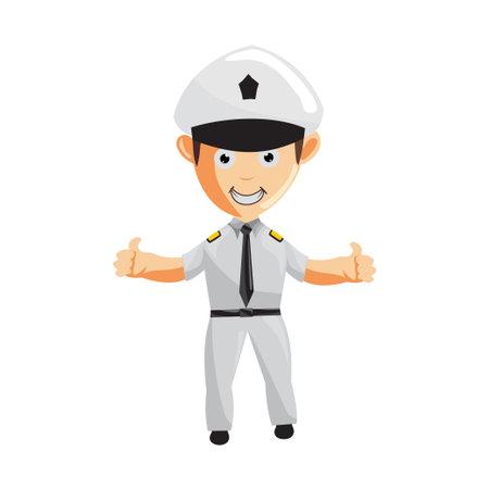 Airplane Pilot Thumb up Cartoon Character Aircraft Captain in Uniform