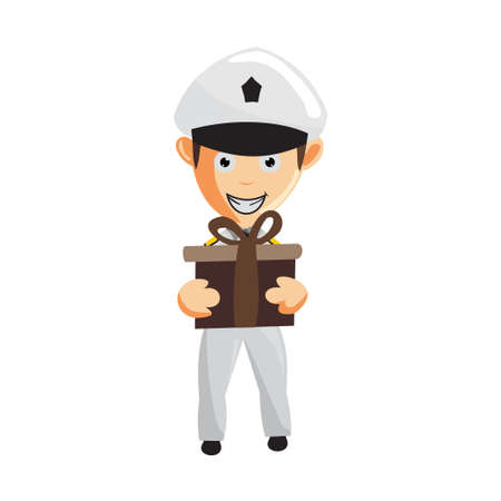Airplane Pilot Holding Gift Cartoon Character Aircraft Captain in Uniform