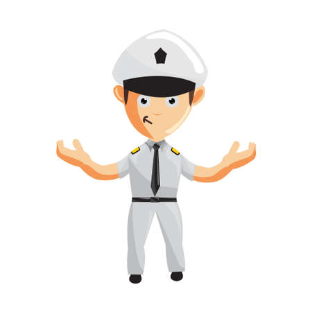 Airplane Pilot Hand Welcome Cartoon Character Aircraft Captain in Uniform