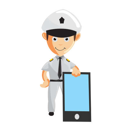 Airplane Pilot Holding Big Phone Cartoon Character Aircraft Captain in Uniform