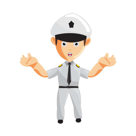 Airplane Pilot Confused Cartoon Character Aircraft Captain in Uniform