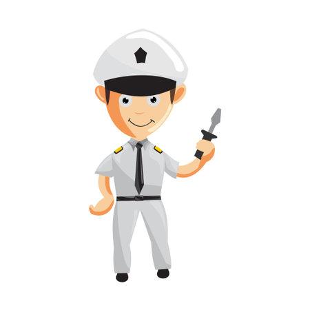 Airplane Pilot Holding screwdriver Cartoon Character Aircraft Captain in Uniform