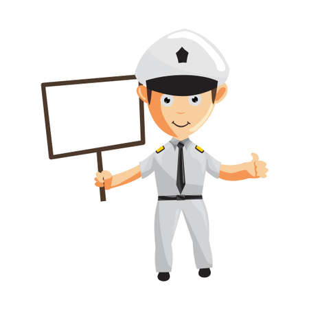 Airplane Pilot Cartoon Character with Blank Board Aircraft Captain in Uniform