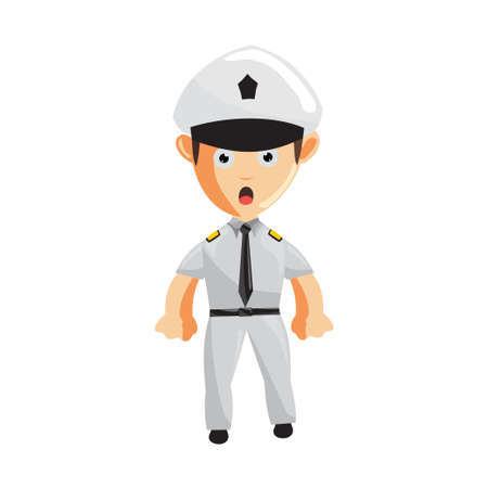 Airplane Pilot Standing Confused Cartoon Character Aircraft Captain in Uniform