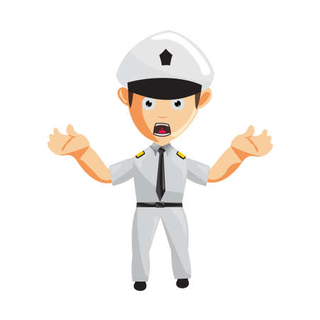 Airplane Pilot Hand Confused Cartoon Character Aircraft Captain in Uniform