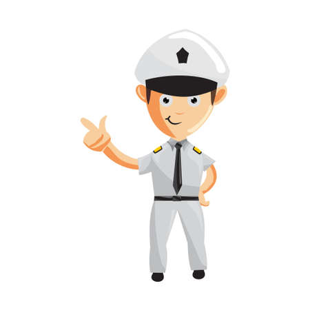 Airplane Pilot Hand Pointing Cartoon Character Set Aircraft Captain in Uniform