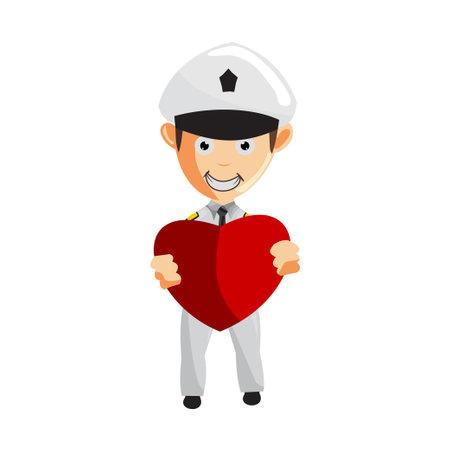 Airplane Pilot Holding Love Symbol Cartoon Character Aircraft Captain in Uniform