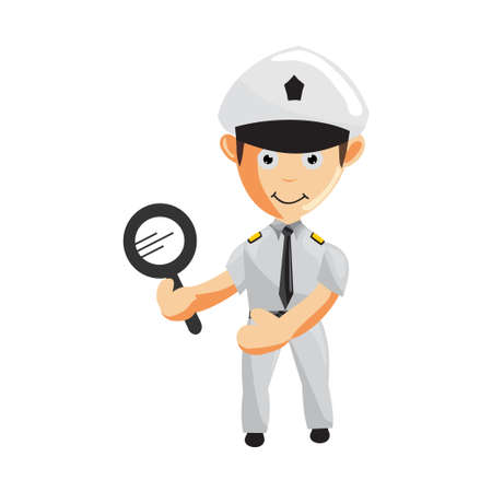 Airplane Pilot Holding Magnifying Cartoon Character Aircraft Captain in Uniform