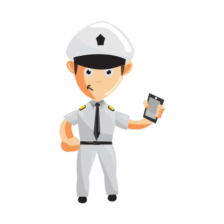 Airplane Pilot Holding Hand Phone Cartoon Character Aircraft Captain in Uniform