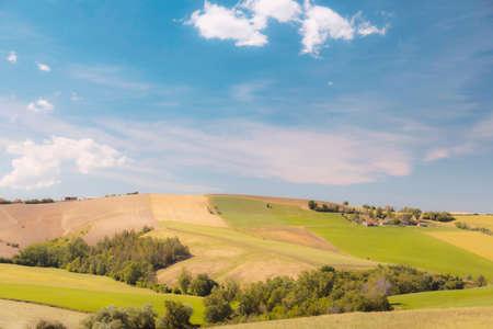 Photo pour Beautiful rural landscape in spring, view of cultivated land - image libre de droit