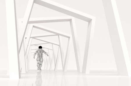 Photo for Astronaut walking on abstract geometric background . This is a 3d render illustration . - Royalty Free Image