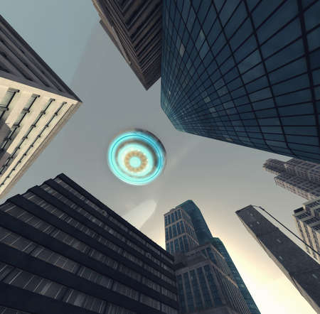 Photo for UFO flying above a city . This is a 3d render illustration . - Royalty Free Image