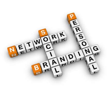 Personal Branding Social Network  (3D crossword orange series)