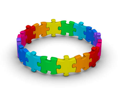 Photo pour circle of colorful jigsaw puzzles on white background - image libre de droit