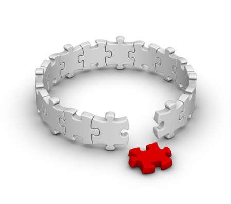 Foto de gray jigsaw puzzles with one red piece - Imagen libre de derechos