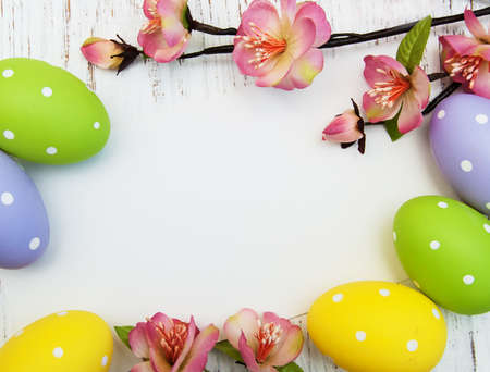 Photo for easter background with easter eggs and flowers - Royalty Free Image