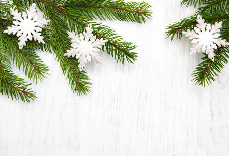 christmas background - christmas decor on the wooden background