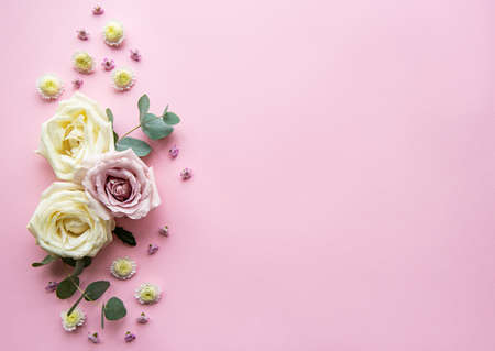 Photo for Flowers composition. Frame made of various colorful flowers on light pink  background. Flat lay, top view, copy space - Royalty Free Image
