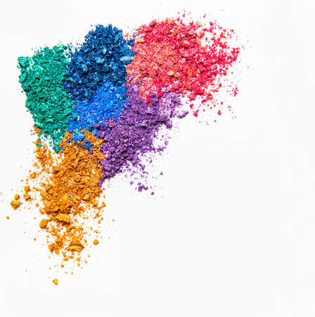 Photo pour Makeup cosmetics. Eyeshadow crushed palette, colorful eye shadow powder on white background. Flat lay, top view - image libre de droit