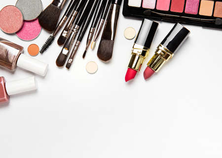 Photo for Set of decorative cosmetics on a white background. Flat lay, top view. - Royalty Free Image